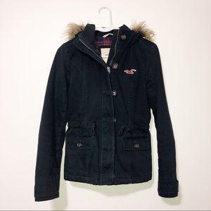 Hollister navy blue jacket w\faux fur hood small